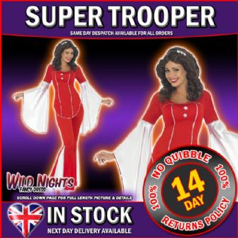 FANCY DRESS COSTUME # LADIES 1970s POP MUSIC ABBA SUPER TROOPER RED SM 8-10